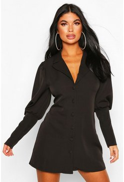 Black Petite Volume Sleeve Blazer Dress