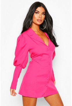 Bright pink Petite Volume Sleeve Blazer Dress