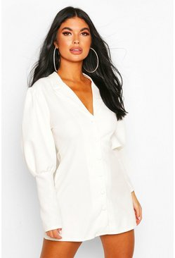 White Petite Volume Sleeve Blazer Dress