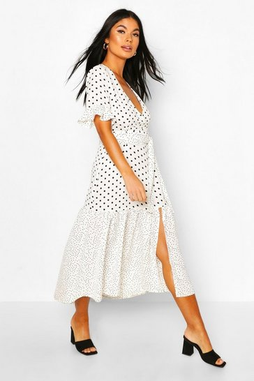 White Petite Mixed Spot Midi Dress