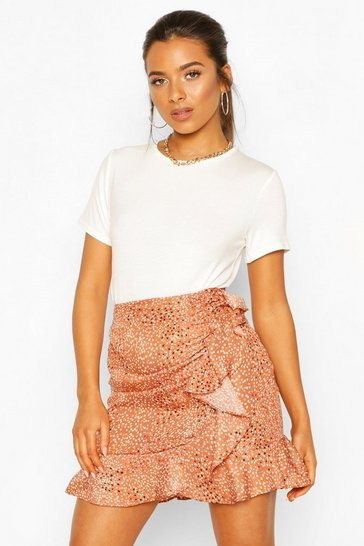 Rust Petite Polka Dot Ruched Frill Skirt