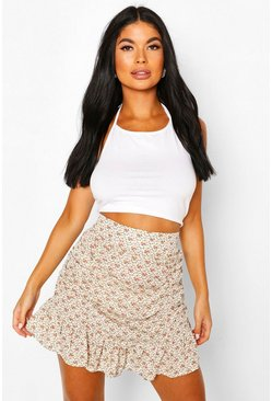 Cream Petite Floral Ruched Frill Hem Mini Skirt