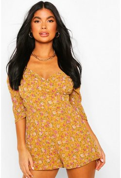Mustard Petite Volume Sleeve Floral Playsuit