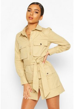 Stone Petite Utility Pocket Belted Shirt Dress