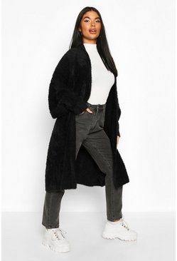 Black Petite Premium Fluffy Knit Maxi Cardigan