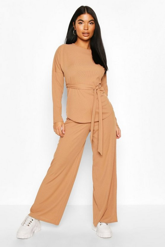 Camel Petite Ribbed Belted T-Shirt & Wide Leg Co-Ord