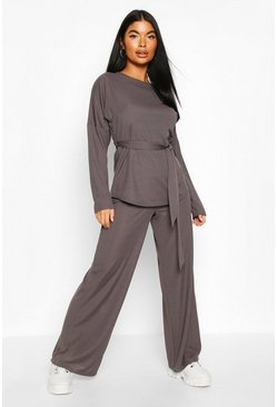 Womens Charcoal Petite Ribbed Belted T-Shirt & Wide Leg Co-Ord