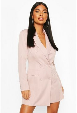 Pink Petite Double Breasted Pinstripe Belted Blazer Dress