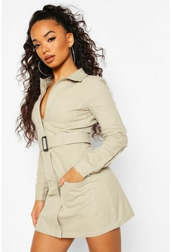 Sage Petite Contrast Stitch Belted Shirt Dress