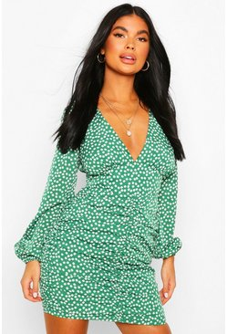 Green Petite Floral Long Sleeve Ruched Side Dress