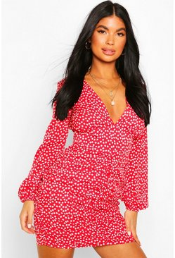 Red Petite Floral Long Sleeve Ruched Side Dress