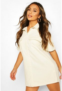 Ivory Petite Cord Utility Shirt Dress