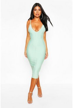 Sage Petite Bandage V-Neck Bodycon Dress