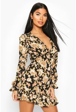 Black Petite Floral Ruffle Hem Long Sleeve Dress