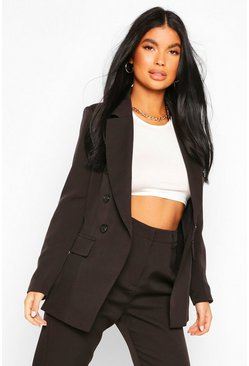 Black Petite Fitted Double Breasted Blazer