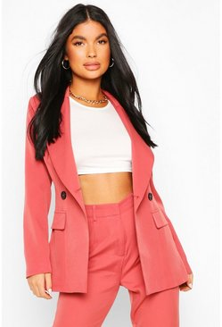 Mauve Petite Fitted Double Breasted Blazer