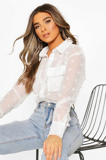 White Petite Textured Spot Sheer Shirt