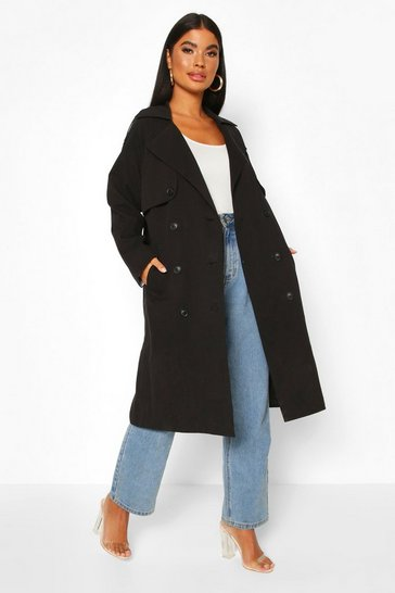 Black Petite Check Detail Trench Coat