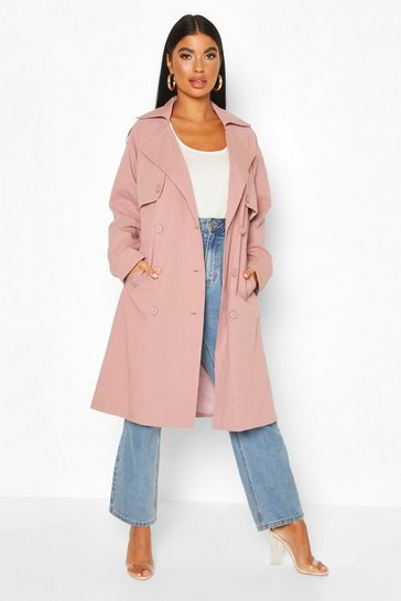 Pink Petite Check Detail Trench Coat