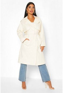 Stone Petite Check Detail Trench Coat