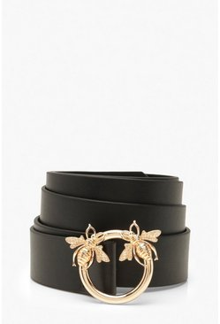 Black Plus Bee Ring Boyfriend Belt