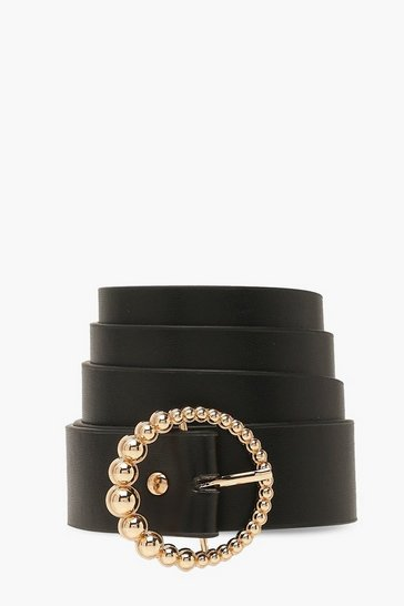 Black Plus Gradual Bead Buckle Belt