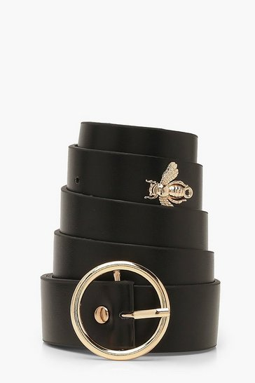 Black Plus Bee Detail Circle Buckle Belt