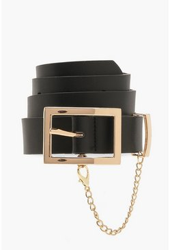 Black Plus Rectangle Buckle & Chain Belt