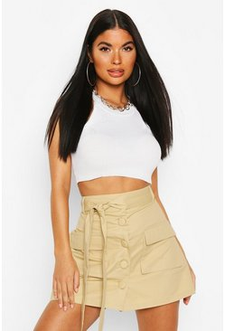 Stone Petite Utility Pocket Belted Skirt