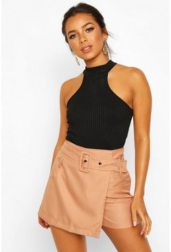 Rust Petite Belted Wrap Front Twill Short