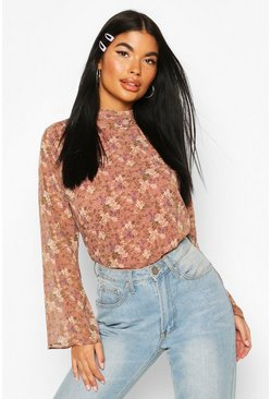 Pink Petite Floral High Neck Blouse