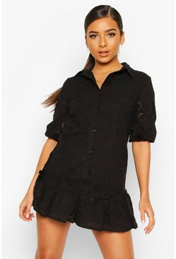 Black Petite Broderie Shirt Dress