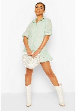 Sage Petite Broderie Shirt Dress