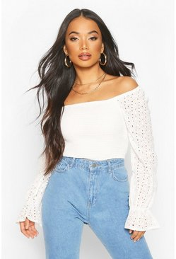 White Petite Sheered Broderie Top