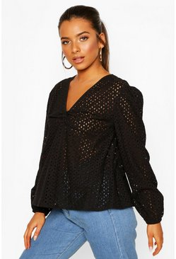 Petite Broderie Twist Front Puff Sleeve Top, Black