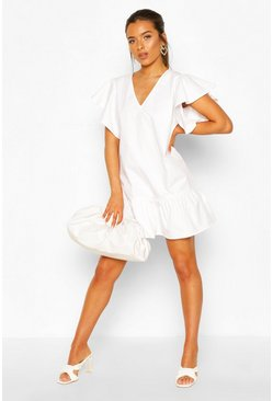 Petite Frill Sleeve Smock Dress, White