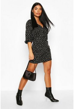 Black Petite Mini Polka Dot Volume Sleeve Dress