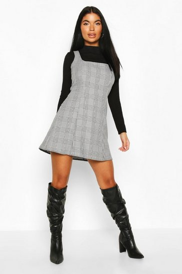 Black Petite Prince of Wales Check Pinafore