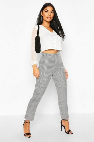 Black Petite Dogtooth Check Tailored Trouser