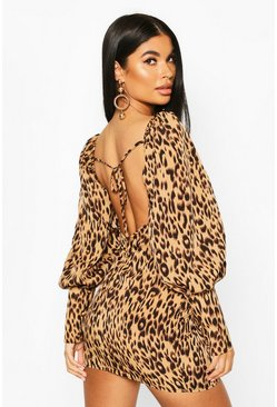 Camel Petite Woven Leopard Puff Sleeve Mini Dress