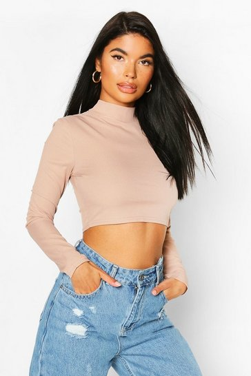 Sand Petite High Neck Ribbed Crop Top