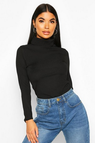 Black Petite Rib Long Sleeve Turtle Neck Bodysuit
