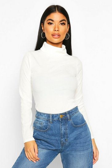 Ivory Petite Rib Long Sleeve Turtle Neck Bodysuit