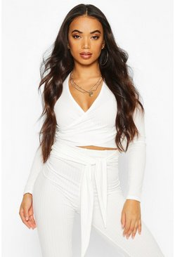 Womens Ivory Petite Rib Wrap Long Sleeve Crop Top