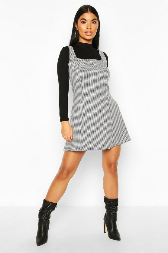 Black Petite Dogtooth Pinafore Dress
