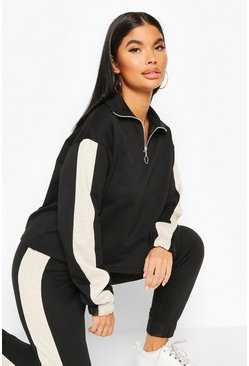 Black Petite Funnel Neck Side Stripe Sweat Top