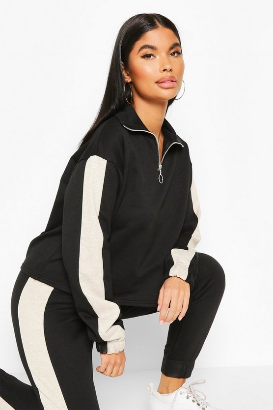 Petite Funnel Neck Side Stripe Sweat Top