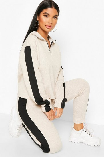 Oatmeal Petite Funnel Neck Side Stripe Sweat Top