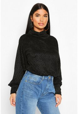 Black Petite Chenille Soft Knitted Roll Neck Jumper