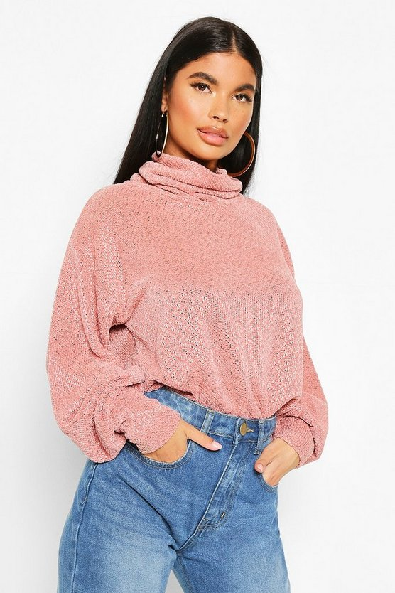 Petite Chenille Soft Knitted Roll Neck Jumper